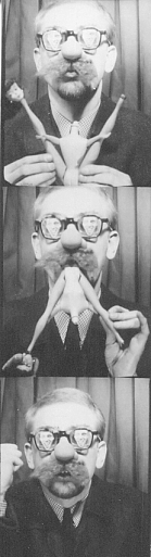 the Artist Ture Sjolander eating a well cooked  Barbie Doll monster 1964.